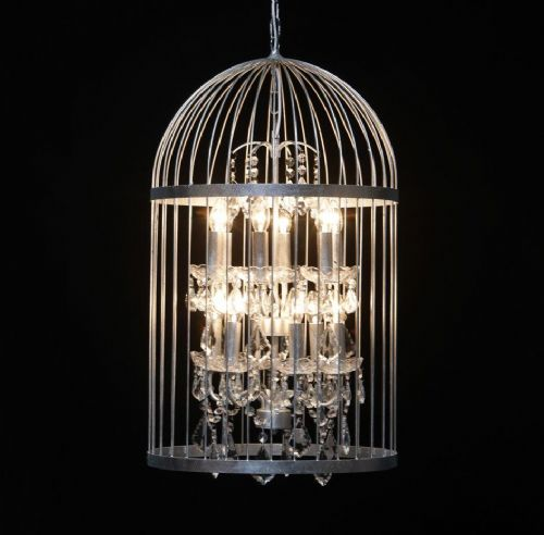 Bird Cage Chandelier in Antique Silver Large